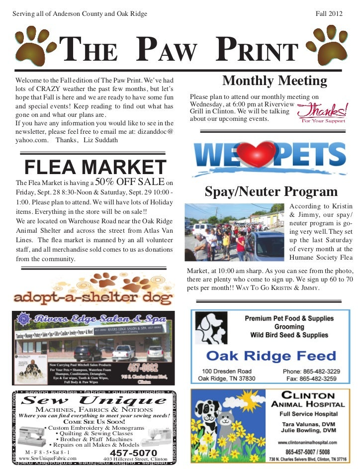 Humane Society Newsletter Fall 2012