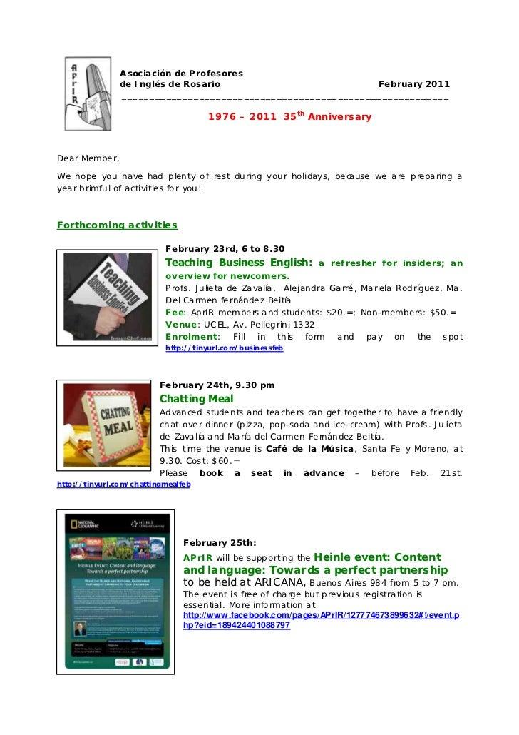 A sociación de Profesores               de Inglés de Rosario                          February 2011               ________...