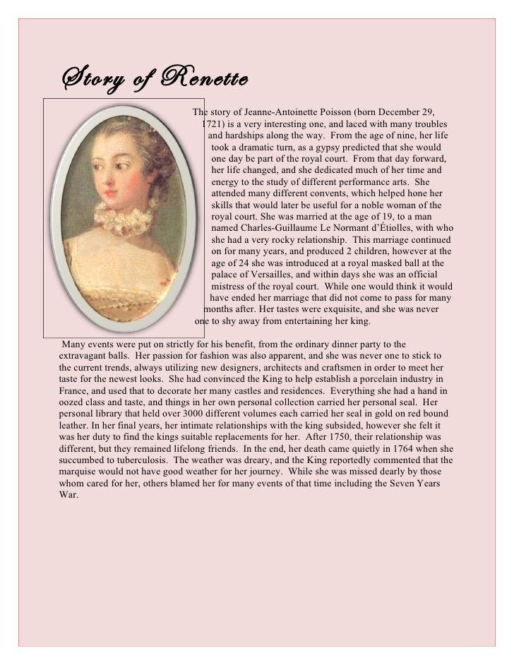 Story of Renette                                 The story of Jeanne-Antoinette Poisson (born December 29,                ...