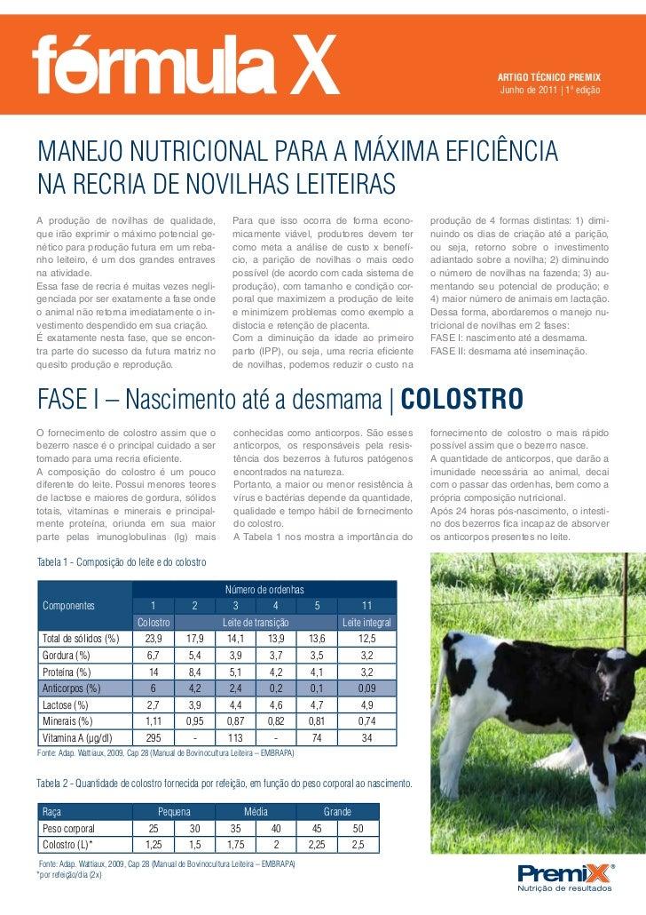 MANEJO NUTRICIONAL PARA A MÁXIMA EFICIÊNCIA NA RECRIA DE NOVILHAS LEITEIRAS