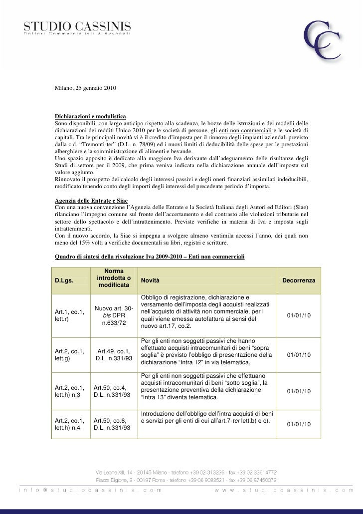 Newsletter Fiscale gennaio 2010