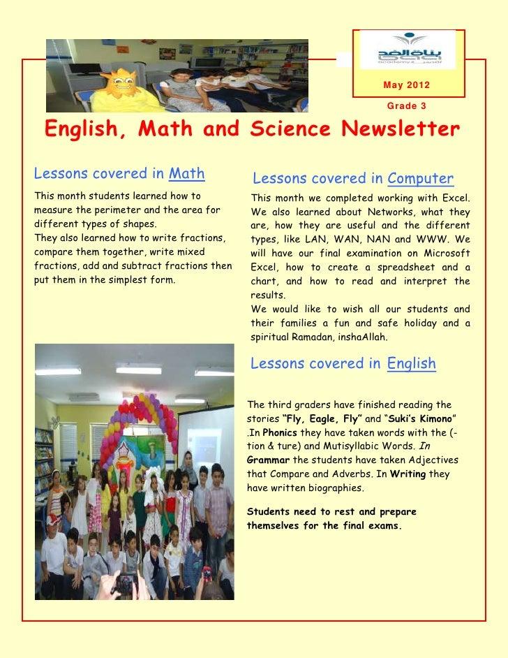 May 2012                                                                          Grade 3  English, Math and Science Newsl...