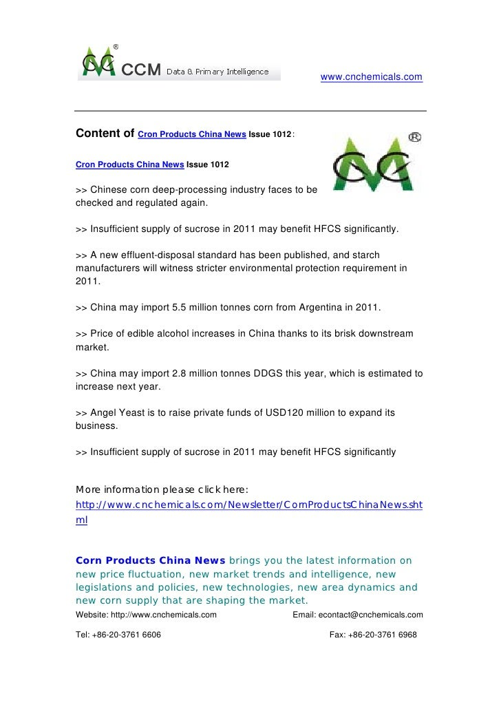www.cnchemicals.comContent of Cron Products China News Issue 1012:Cron Products China News Issue 1012>> Chinese corn deep-...