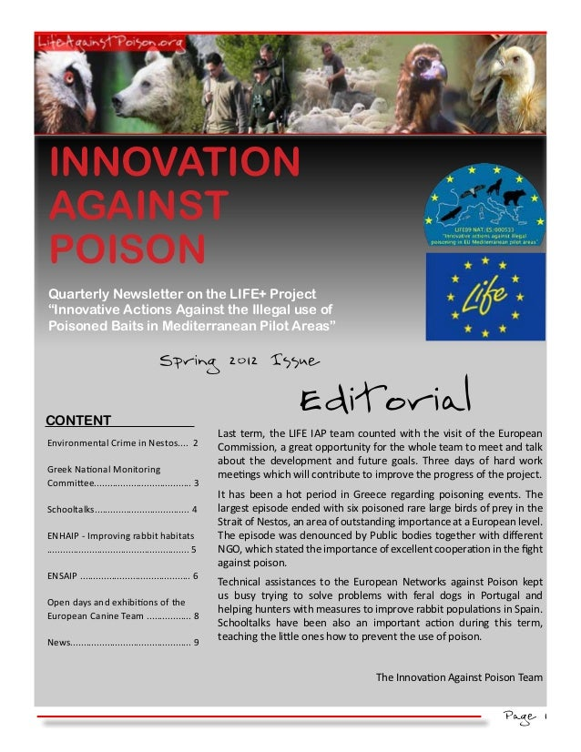 """INNOVATIONAGAINSTPOISONQuarterly Newsletter on the LIFE+ Project""""Innovative Actions Against the Illegal use ofPoisoned Bai..."""