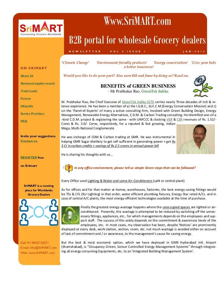 Srimart Newsletter Jan2012 - Green Business