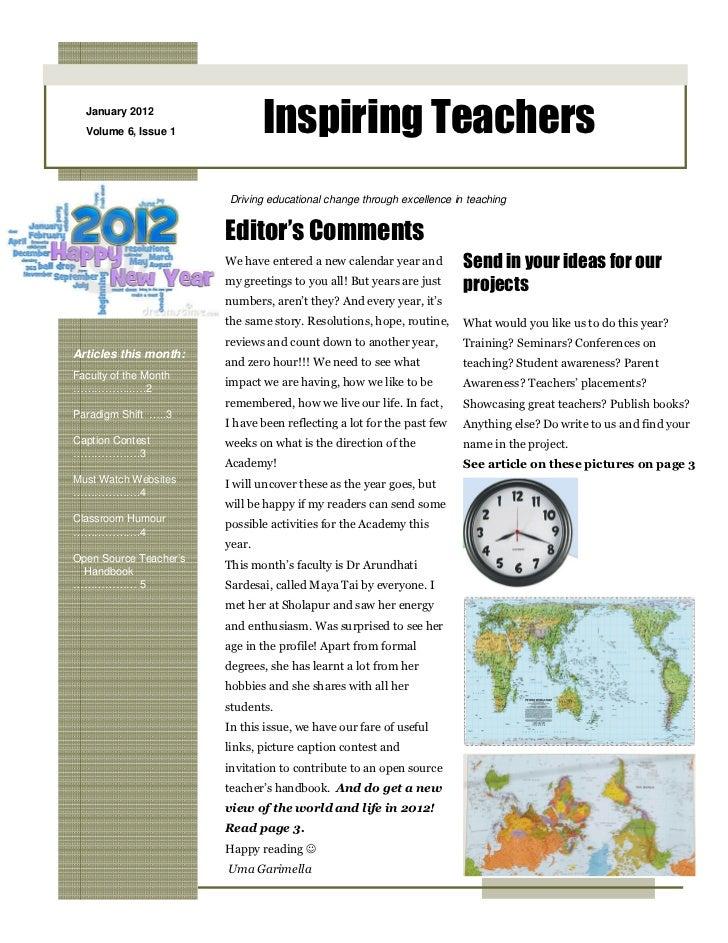 January 2012  Volume 6, Issue 1             Inspiring Teachers                        Driving educational change through e...