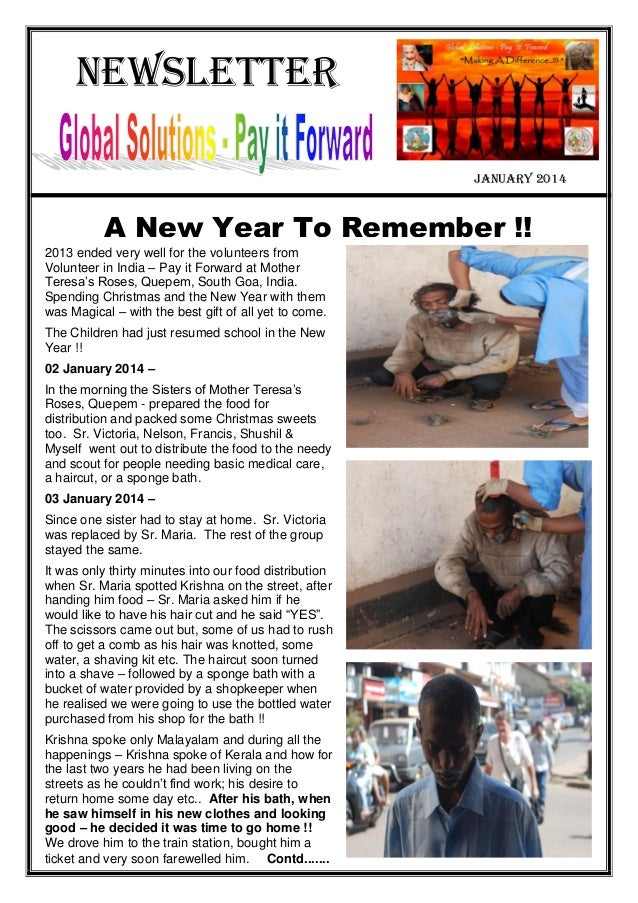 Newsletter january 2014 A New Year To Remember !! 2013 ended very well for the volunteers from Volunteer in India – Pay it...