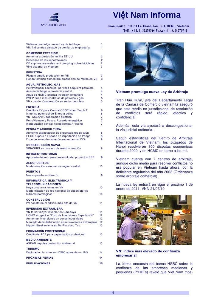 Vietnam Boletin Informativo JULIO 2010