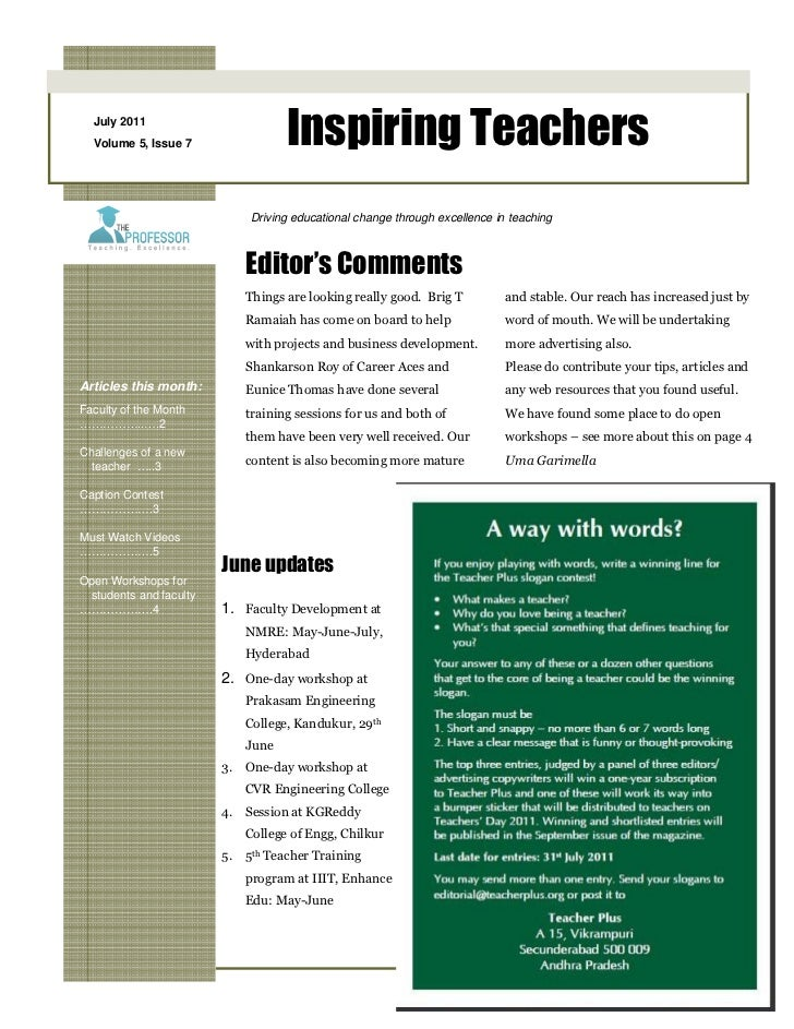 July 2011  Volume 5, Issue 7               Inspiring Teachers                            Driving educational change throug...