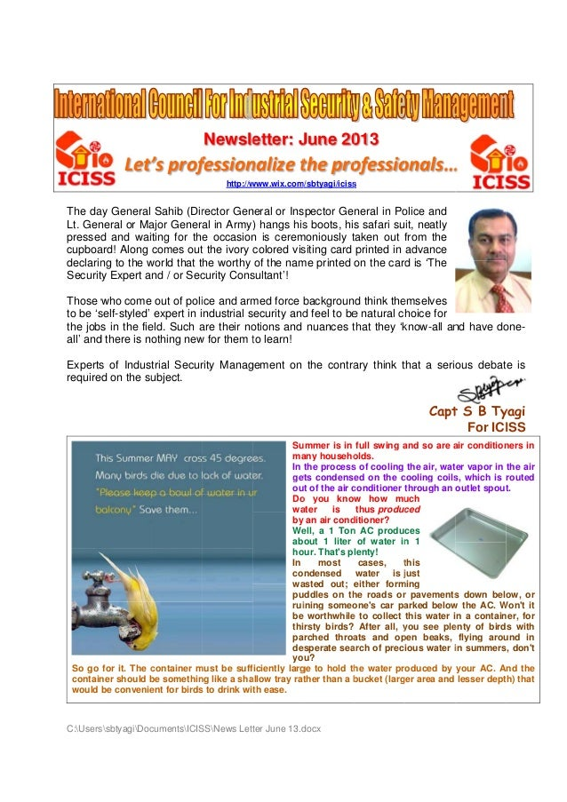 Newsle etter: J June 20 013  Let' prof 's fession nalize t pro the ofessio onals… … http://w www.wix.com/sbtyagi/iciss s  ...