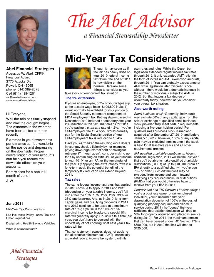Mid-Year Tax ConsiderationsAbel Financial Strategies                                   Though it may seem as if          o...