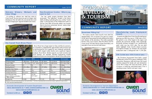 June 2013 ECONOMIC DEVELOPMENT & TOURISM COMMUNITY REPORT Manufacturing Leads Employment Growth AccesstonewdatashowsOwenSo...