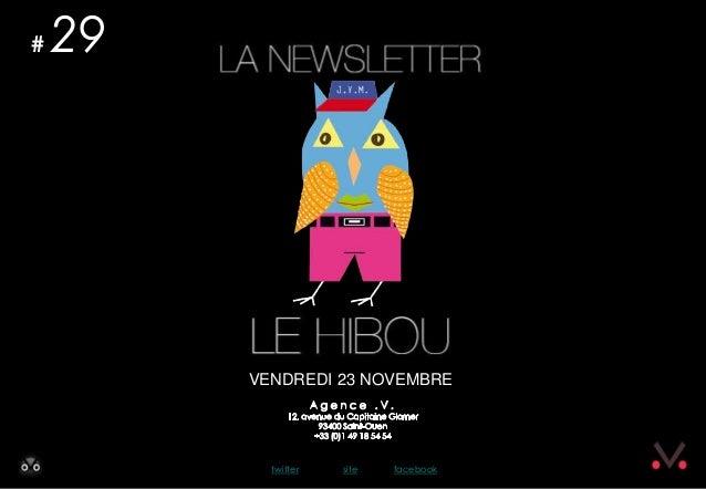 Newsletter #29 - Le Hibou Agence .V. du 23 novembre 2012