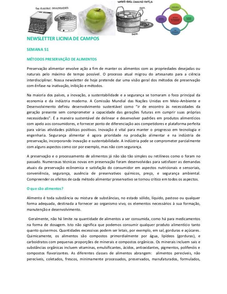 NEWSLETTER LICINIA DE CAMPOSSEMANA 51MÉTODOS PRESERVAÇÃO DE ALIMENTOSPreservação alimentar envolve ação a fim de manter os...