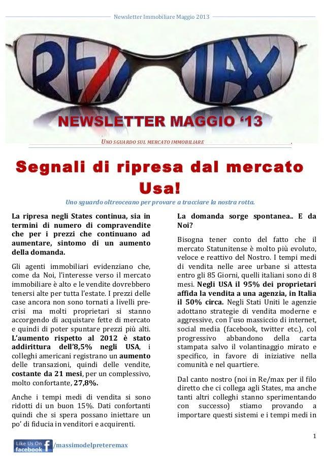 Newsletter Immobiliare Maggio 2013     1     /massimodelpreteremax        ...