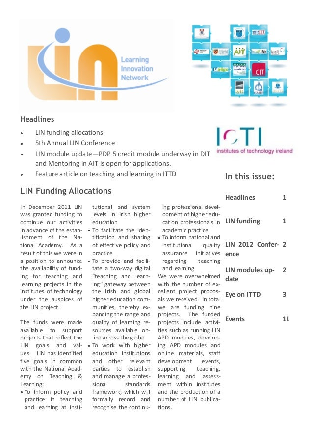 Headlines      LIN funding allocations      5th Annual LIN Conference      LIN module update—PDP 5 credit module underway ...