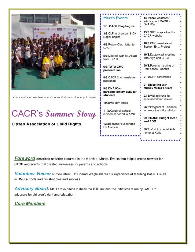 CACR's Summer Story Citizen Association of Child Rights Foreword: describes activities occurred in the month of March. Eve...