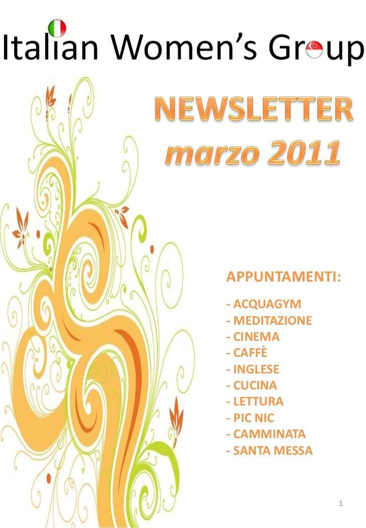 Newsletter di marzo