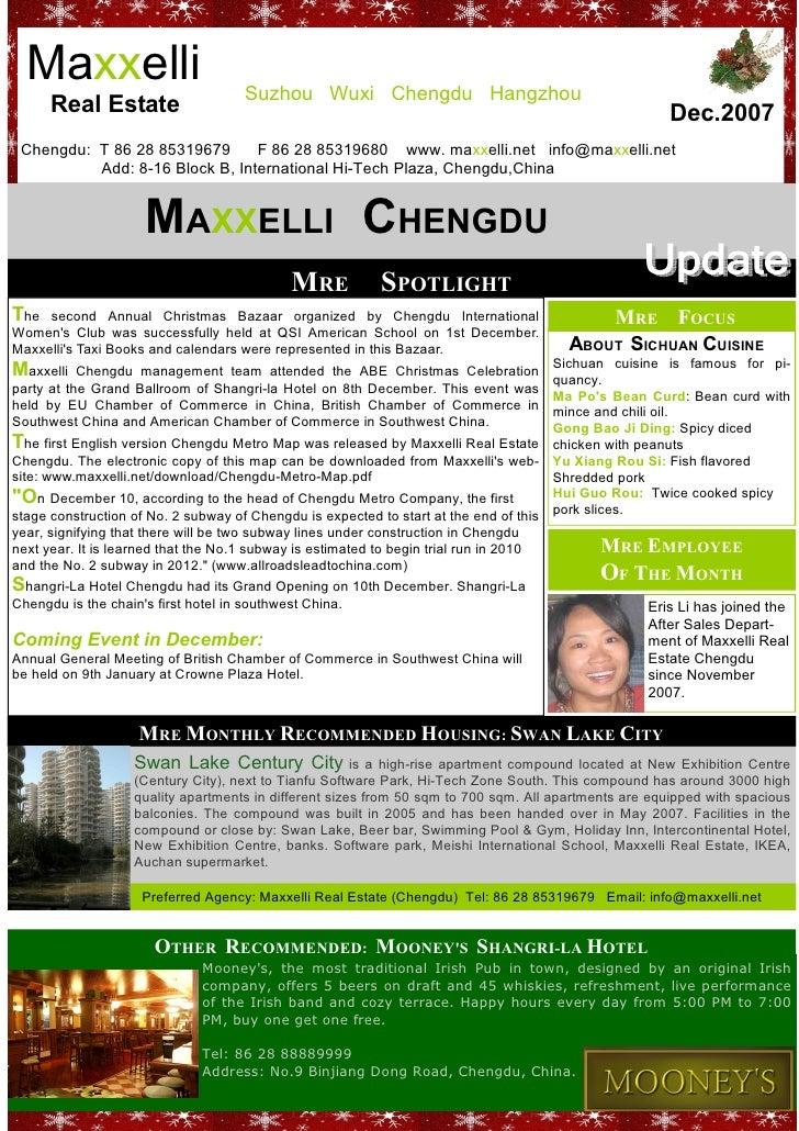 Newsletter Maxxelli Chengdu December 2007