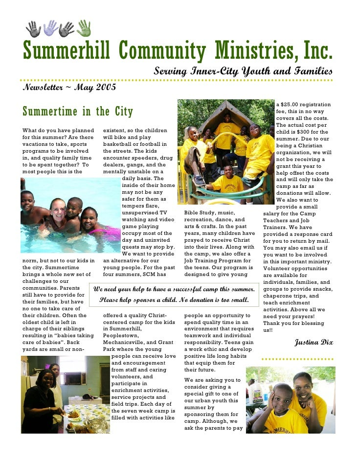 Summerhill Community Ministries Newsletter May05