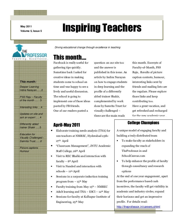 May 2011Volume 5, Issue 5                  Inspiring Teachers                            Driving educational change throug...