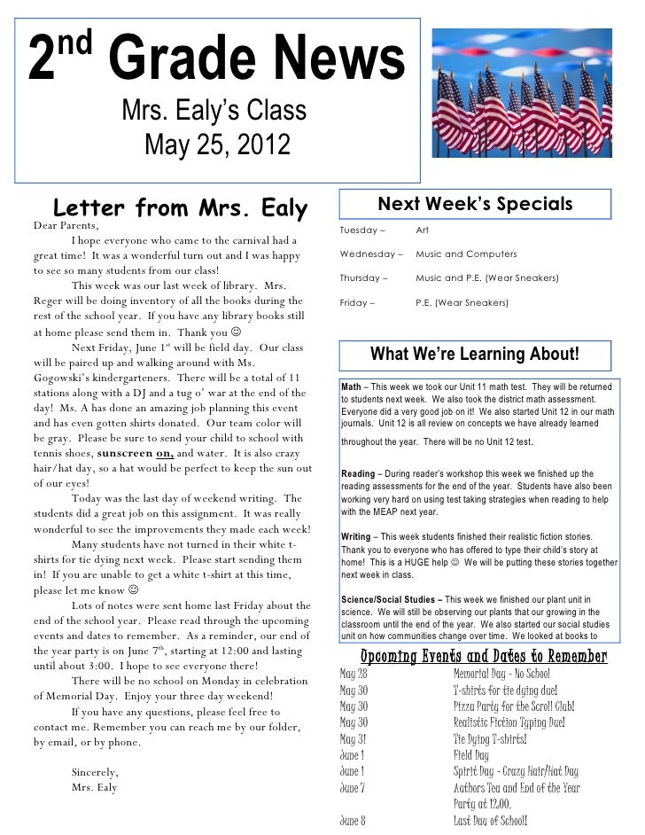 nd2 Grade News                     Mrs. Ealy's Class                      May 25, 2012    Letter from Mrs. Ealy           ...