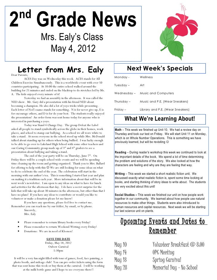 nd2 Grade News                        Mrs. Ealy's Class                          May 4, 2012     Letter from Mrs. EalyDear...