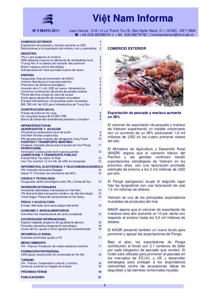 VIETNAM BOLETÍN INFORMATIVO MAYO 2011