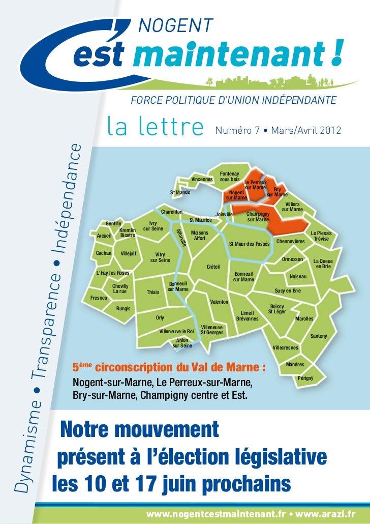 News letter n°07 mars/avril 2012