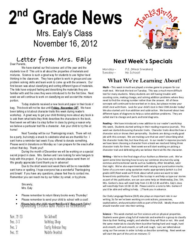 nd2 Grade News                        Mrs. Ealy's Class                       November 16, 2012     Letter from Mrs. Ealy ...