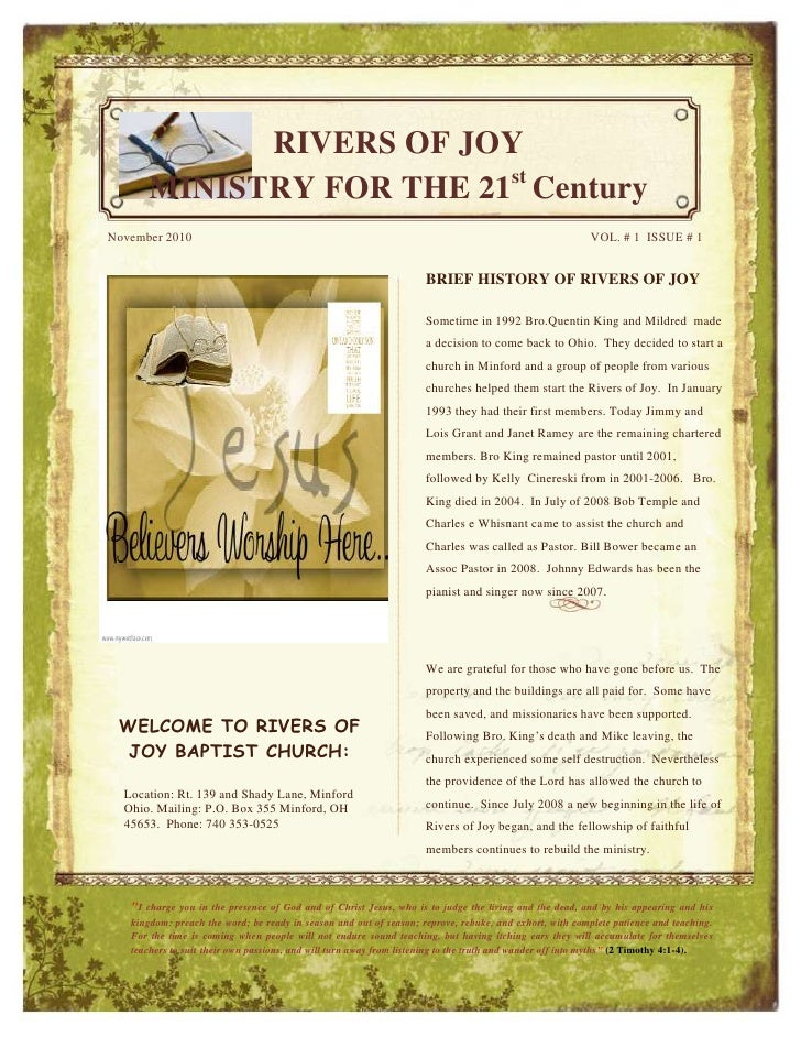 -1155700-933450<br /><ul><li>WELCOME TO RIVERS OF JOY BAPTIST CHURCH:Location: Rt. 139 and Shady Lane, Minford Ohio. Maili...