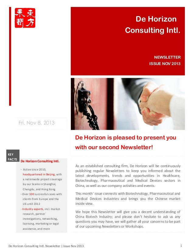 De Horizon Consulting Intl.  NEWSLETTER ISSUE NOV 2013  Fri, Nov 8, 2013  De Horizon is pleased to present you with our se...
