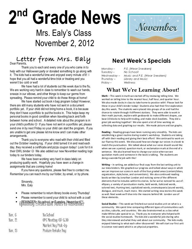 nd2 Grade News                        Mrs. Ealy's Class                        November 2, 2012      Letter from Mrs. Ealy...