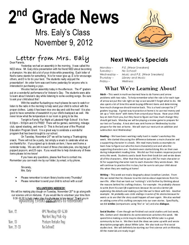 nd2 Grade News                          Mrs. Ealy's Class                          November 9, 2012      Letter from Mrs. ...