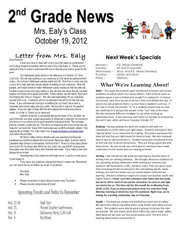 Newsletter oct 19, 2012