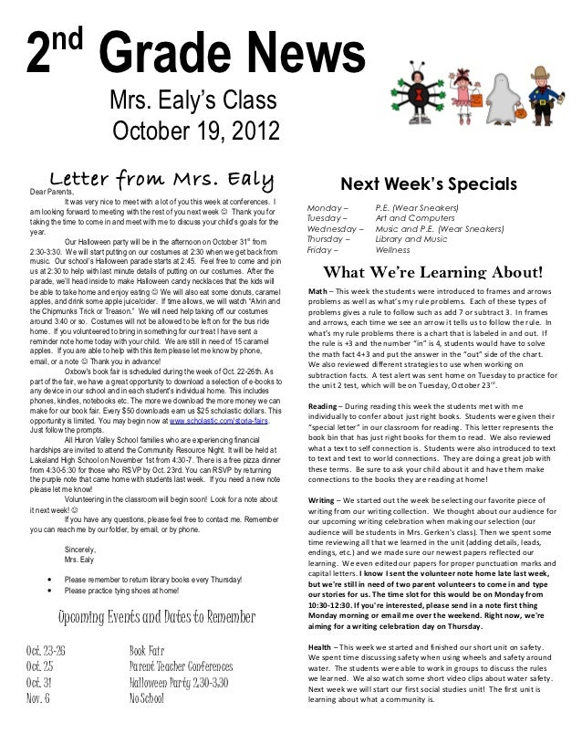 nd2 Grade News                          Mrs. Ealy's Class                          October 19, 2012      Letter from Mrs. ...