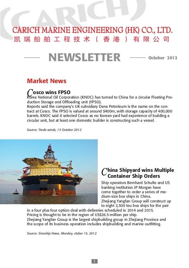 NEWSLETTER                                                 October 2012Market News      C DA S    osco wins FPSOKorea Na...