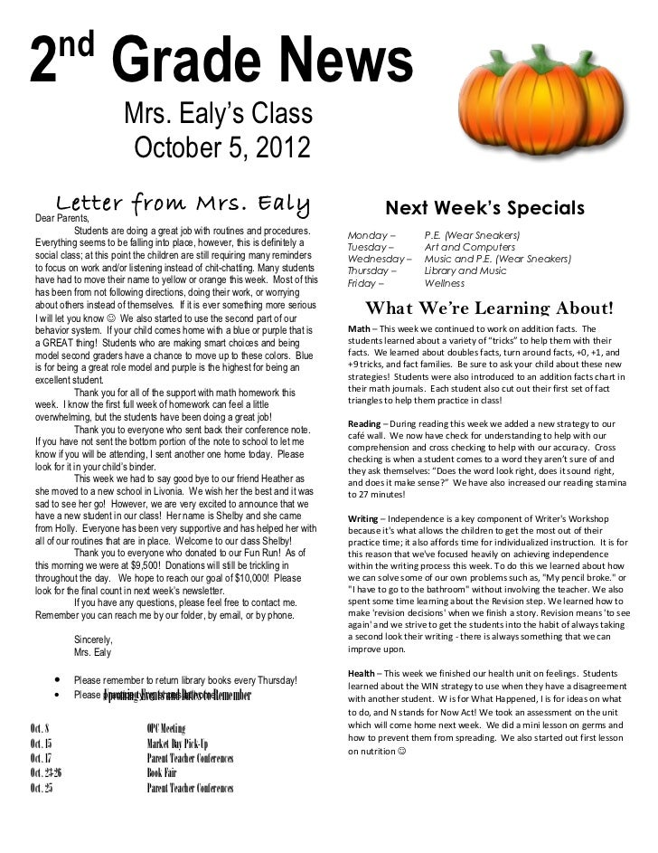 nd2 Grade News                          Mrs. Ealy's Class                          October 5, 2012        Letter from Mrs....