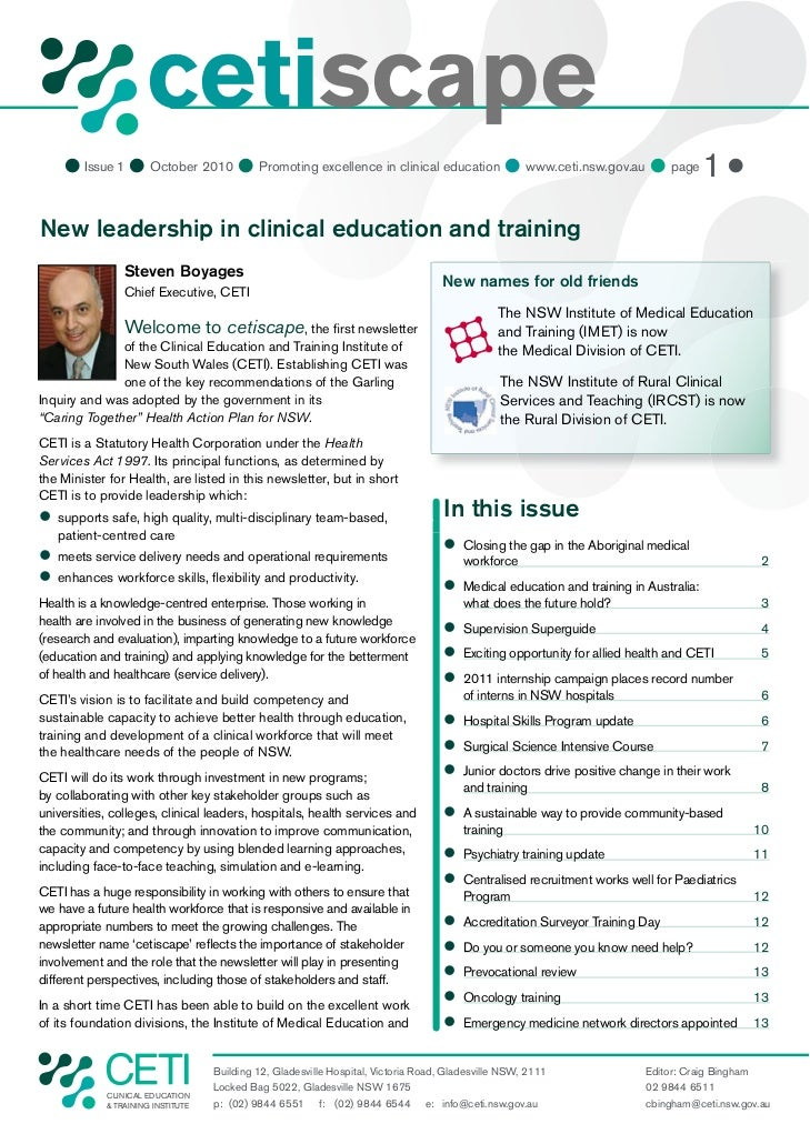 cetiscape     Issue 1  October 2010  Promoting excellence in clinical education  www.ceti.nsw.gov.au  page 1 New lea...