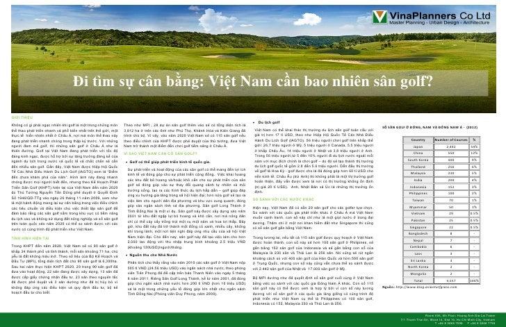 Đi tìm sự cân bằng: Việt Nam cần bao nhiên sân golf?GIỚI THIỆU                                                            ...