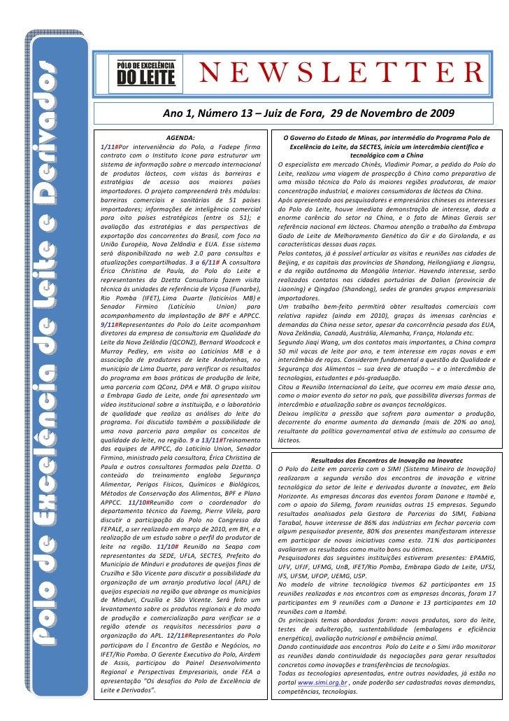 NEWSLETTER                      Ano 1, Número 13 – Juiz de Fora, 29 de Novembro de 2009                        AGENDA:    ...