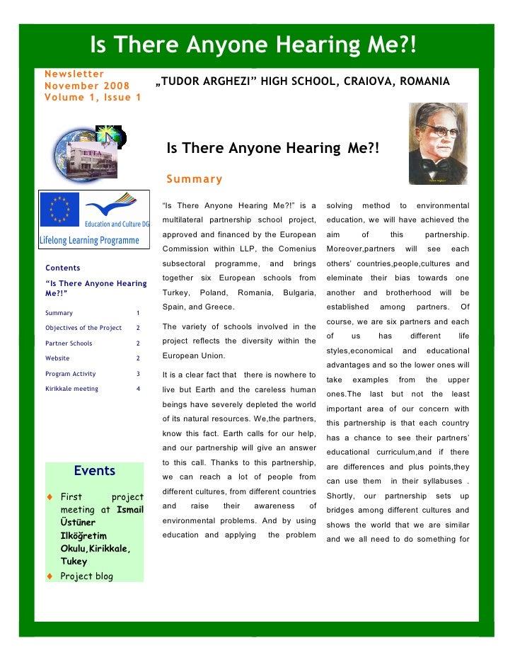 "Is There Anyone Hearing Me?! Newsletter November 2008                   ""TUDOR ARGHEZI"" HIGH SCHOOL, CRAIOVA, ROMANIA Volu..."