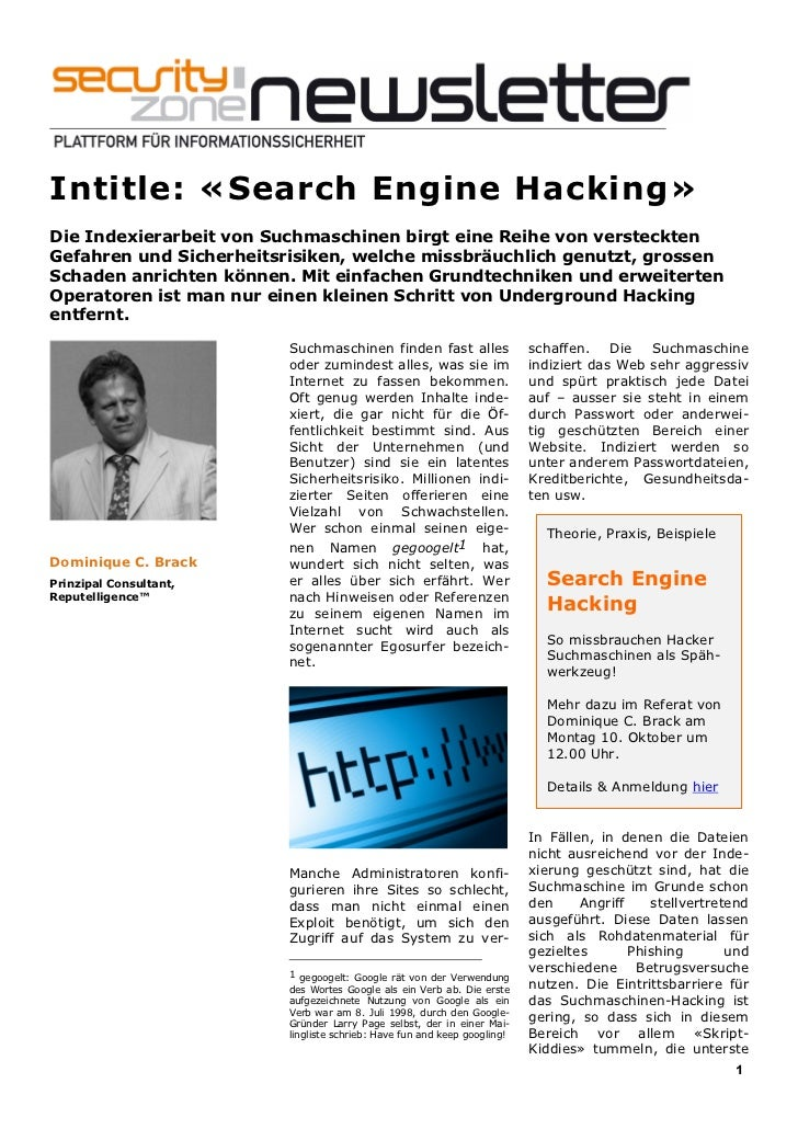 Newsletter Security Zone (September 2011) Intitle Search Engine Hacking