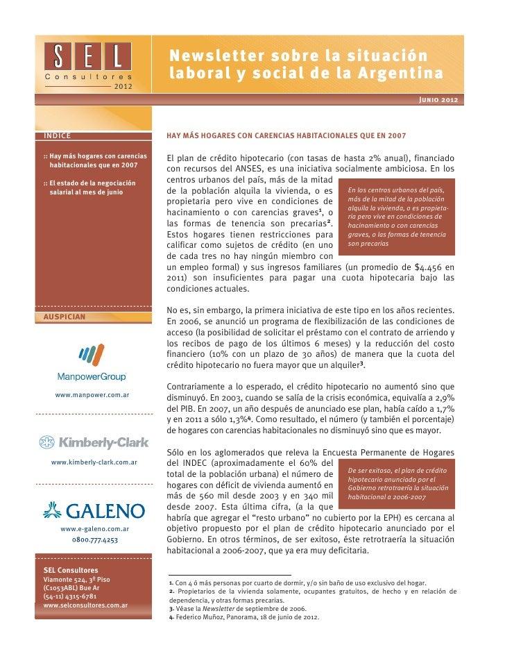 Newsletter sobre la situación                                   laboral y social de la Argentina                      2012...