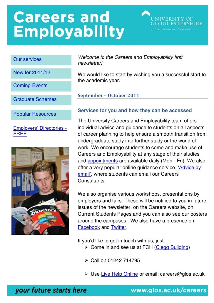 Our services               Welcome to the Careers and Employability first                           newsletter!New for 201...