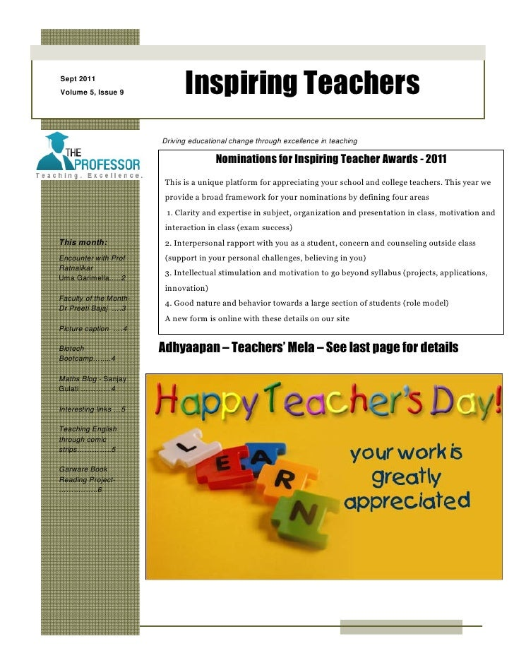 Sept 2011Volume 5, Issue 9             Inspiring Teachers                        Driving educational change through excell...