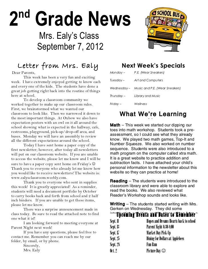 Newsletter sept 7, 2012
