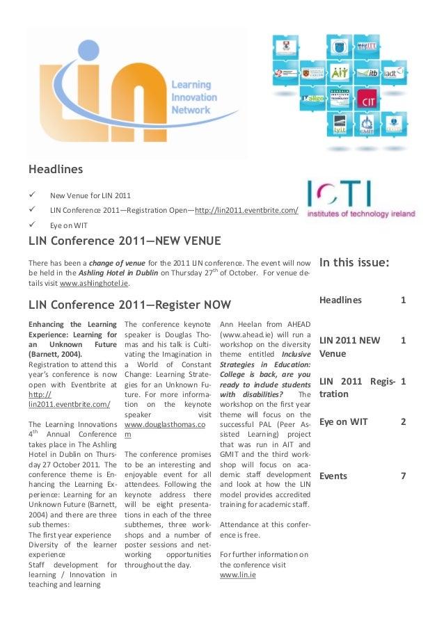 Headlines     New Venue for LIN 2011     LIN Conference 2011—Registration Open—http://lin2011.eventbrite.com/     Eye o...