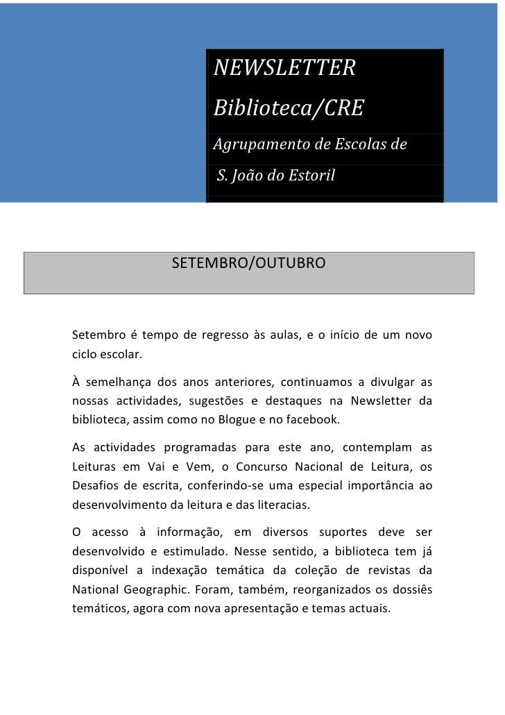 NEWSLETTER                        Biblioteca/CRE                        Agrupamento de Escolas de                        S...