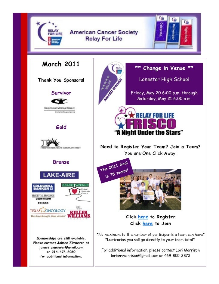 March 2011                                                             ** Change in Venue **  Thank You Sponsors!         ...